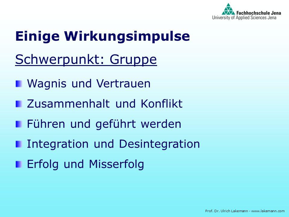 Prof. Dr. Ulrich Lakemann - www.lakemann.com Einige Wirkungsimpulse Schwerpunkt: Gruppe Wagnis und Vertrauen Zusammenhalt und Konflikt Führen und gefü