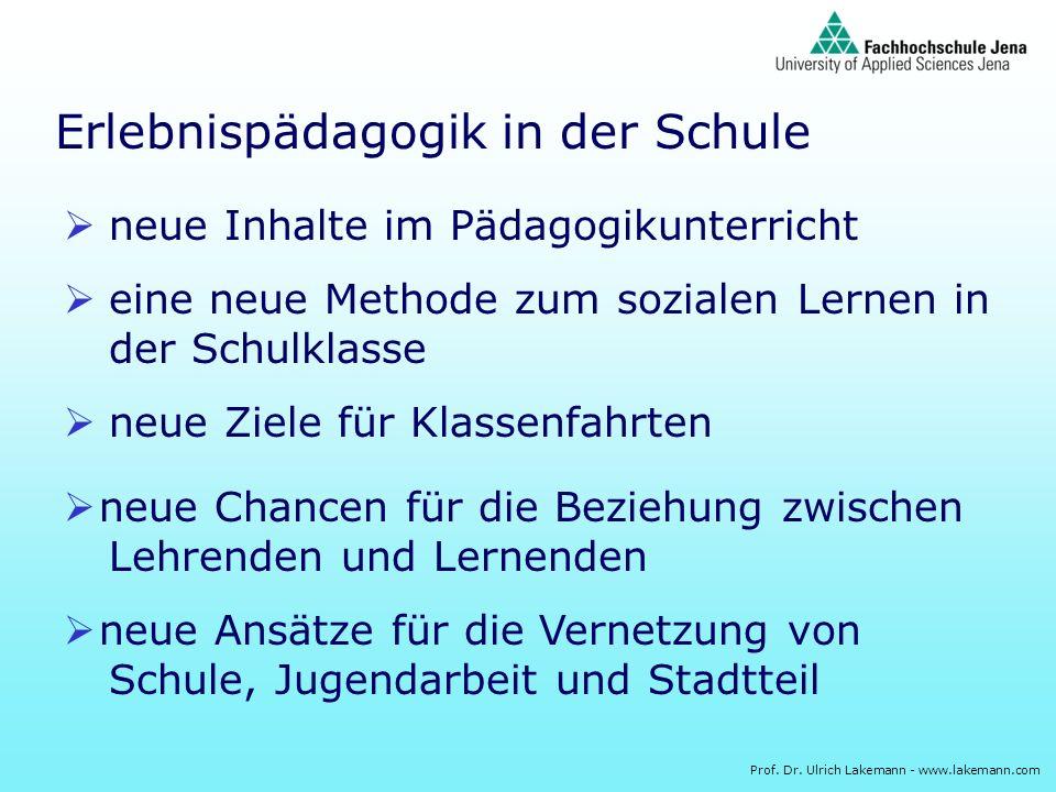 Prof. Dr. Ulrich Lakemann - www.lakemann.com Erlebnispädagogik in der Schule neue Inhalte im Pädagogikunterricht eine neue Methode zum sozialen Lernen