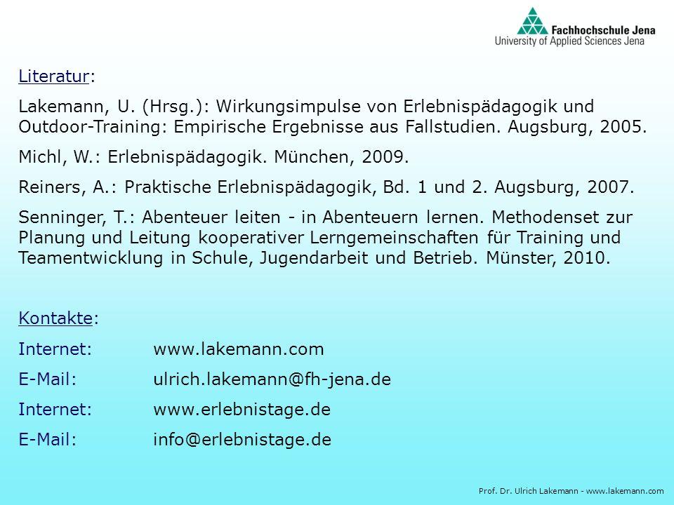 Prof. Dr. Ulrich Lakemann - www.lakemann.com Literatur: Lakemann, U. (Hrsg.): Wirkungsimpulse von Erlebnispädagogik und Outdoor-Training: Empirische E