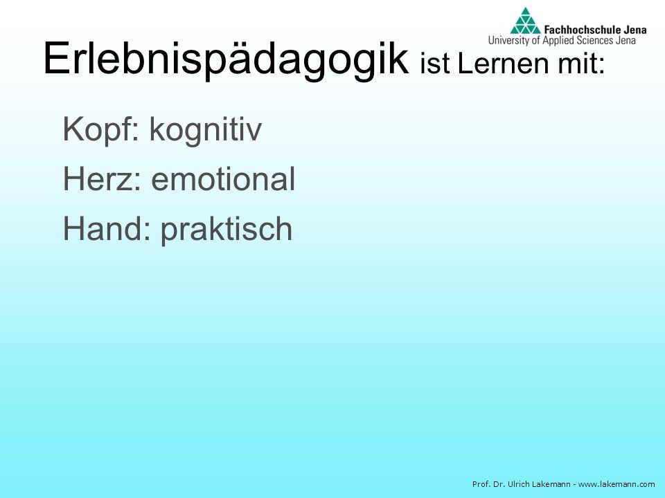 Prof. Dr. Ulrich Lakemann - www.lakemann.com Kopf: kognitiv Herz: emotional Hand: praktisch Erlebnispädagogik ist Lernen mit: