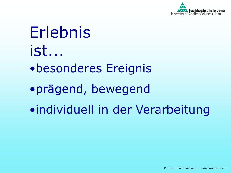 Prof. Dr. Ulrich Lakemann - www.lakemann.com Erlebnis ist... besonderes Ereignis prägend, bewegend individuell in der Verarbeitung