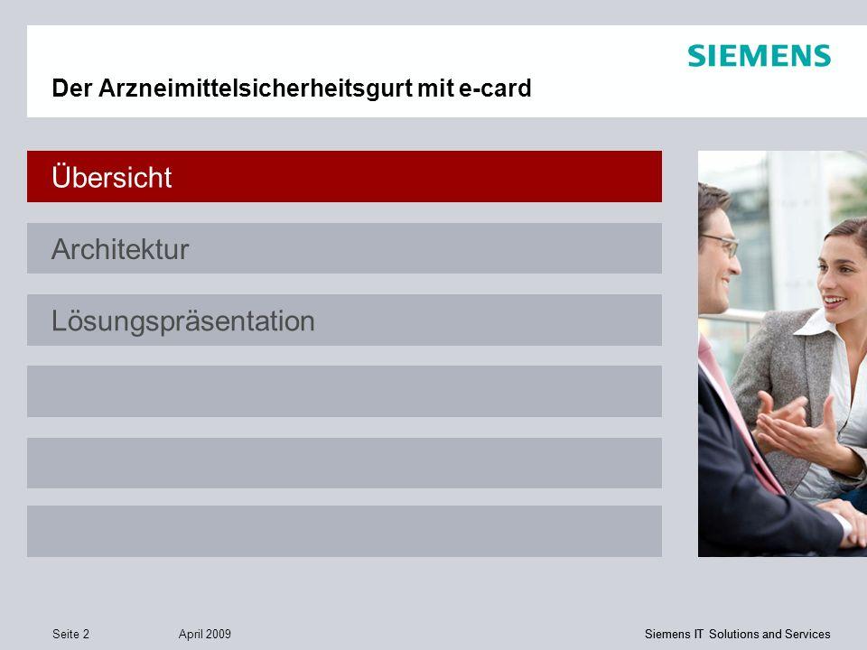 Siemens IT Solutions and Services April 2009 Seite 2 Siemens IT Solutions and Services Der Arzneimittelsicherheitsgurt mit e-card Übersicht Architektu