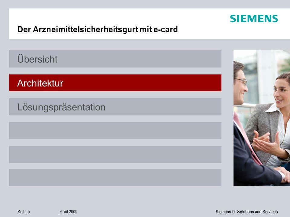 Siemens IT Solutions and Services April 2009 Seite 5 Siemens IT Solutions and Services Der Arzneimittelsicherheitsgurt mit e-card Übersicht Architektu