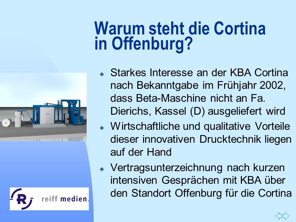 Zurück zur ersten Seite Warum steht die Cortina in Offenburg? u Starkes Interesse an der KBA Cortina nach Bekanntgabe im Frühjahr 2002, dass Beta-Masc