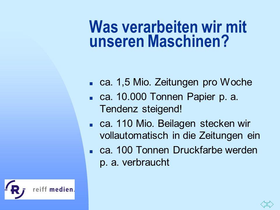 Zurück zur ersten Seite Was verarbeiten wir mit unseren Maschinen? n ca. 1,5 Mio. Zeitungen pro Woche n ca. 10.000 Tonnen Papier p. a. Tendenz steigen