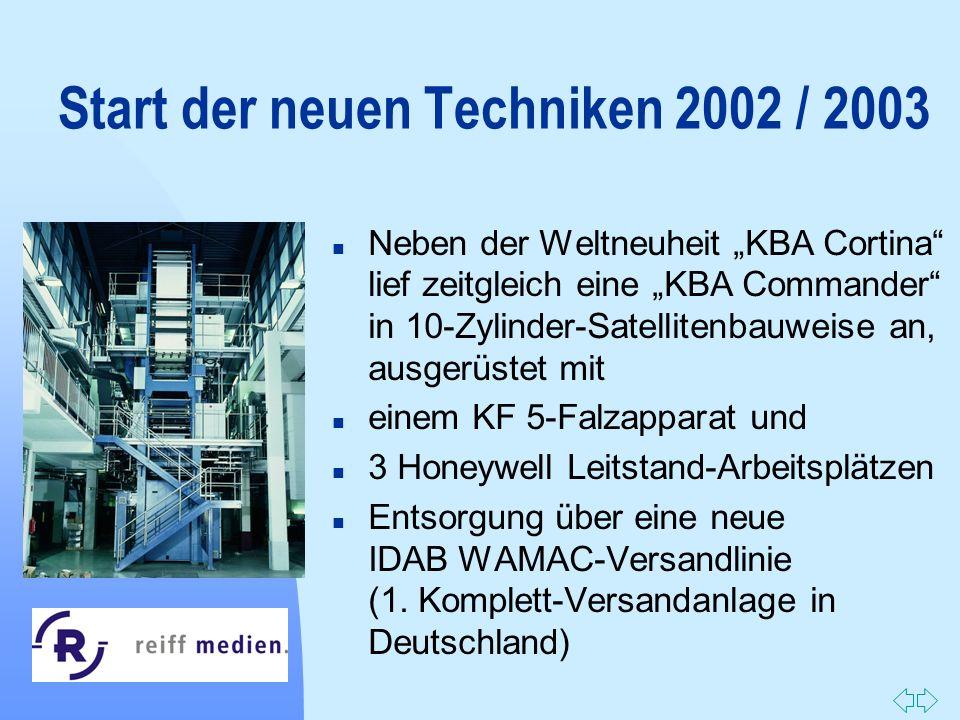 Zurück zur ersten Seite Start der neuen Techniken 2002 / 2003 n Neben der Weltneuheit KBA Cortina lief zeitgleich eine KBA Commander in 10-Zylinder-Sa