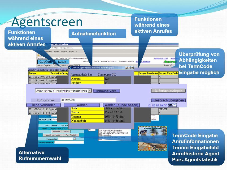 Agentscreen Aufnahmefunktion Funktionen während eines aktiven Anrufes TermCode Eingabe Anrufinformationen Termin Eingabefeld Anrufhistorie Agent Pers.