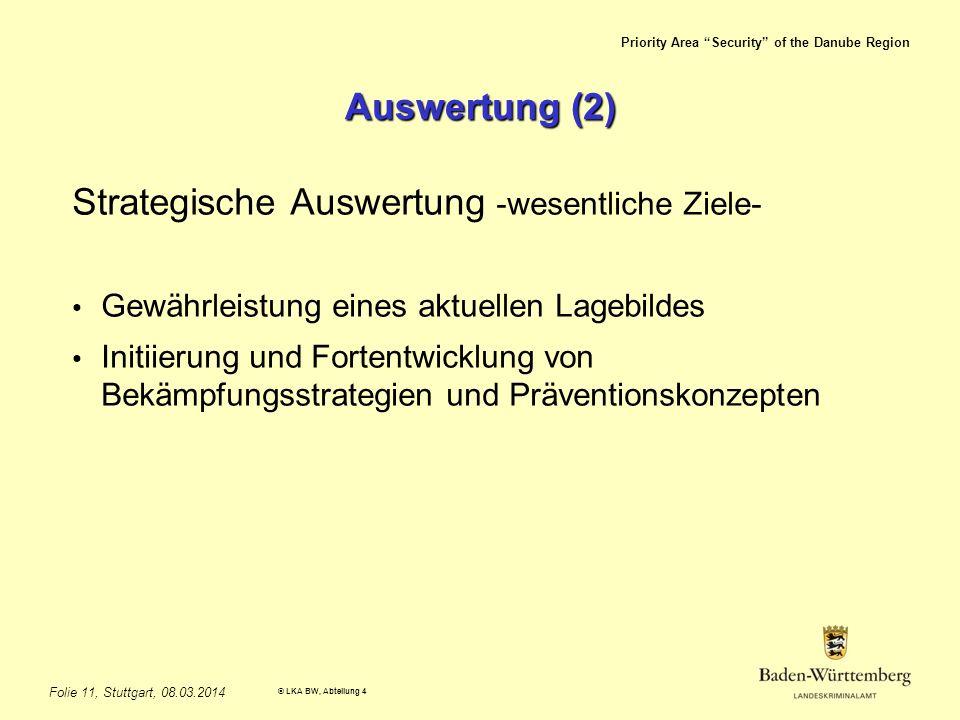 Priority Area Security of the Danube Region © LKA BW, Abteilung 4 Folie 11, Stuttgart, 08.03.2014 Auswertung (2) Strategische Auswertung -wesentliche Ziele- Gewährleistung eines aktuellen Lagebildes Initiierung und Fortentwicklung von Bekämpfungsstrategien und Präventionskonzepten