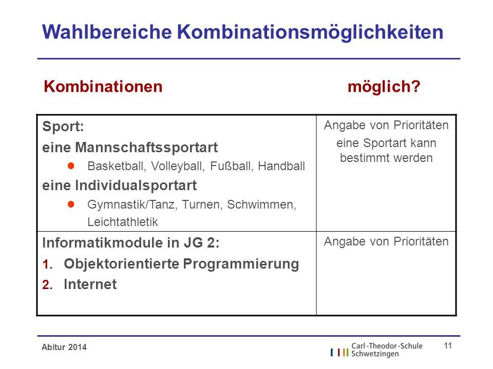 Abitur 2014 11 Wahlbereiche Kombinationsmöglichkeiten möglich?Kombinationen Sport: eine Mannschaftssportart l Basketball, Volleyball, Fußball, Handbal