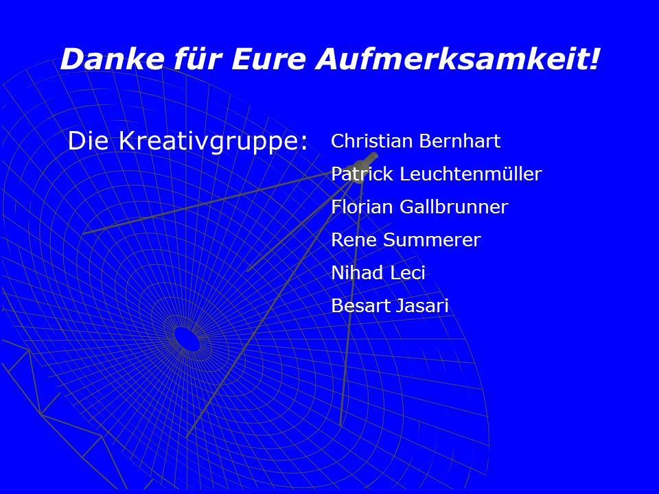 Danke für Eure Aufmerksamkeit! Die Kreativgruppe: Christian Bernhart Patrick Leuchtenmüller Florian Gallbrunner Rene Summerer Nihad Leci Besart Jasari
