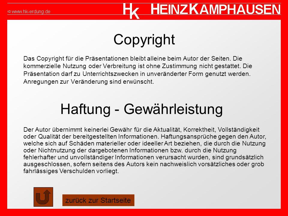 Copyright Das Copyright für die Präsentationen bleibt alleine beim Autor der Seiten. Die kommerzielle Nutzung oder Verbreitung ist ohne Zustimmung nic