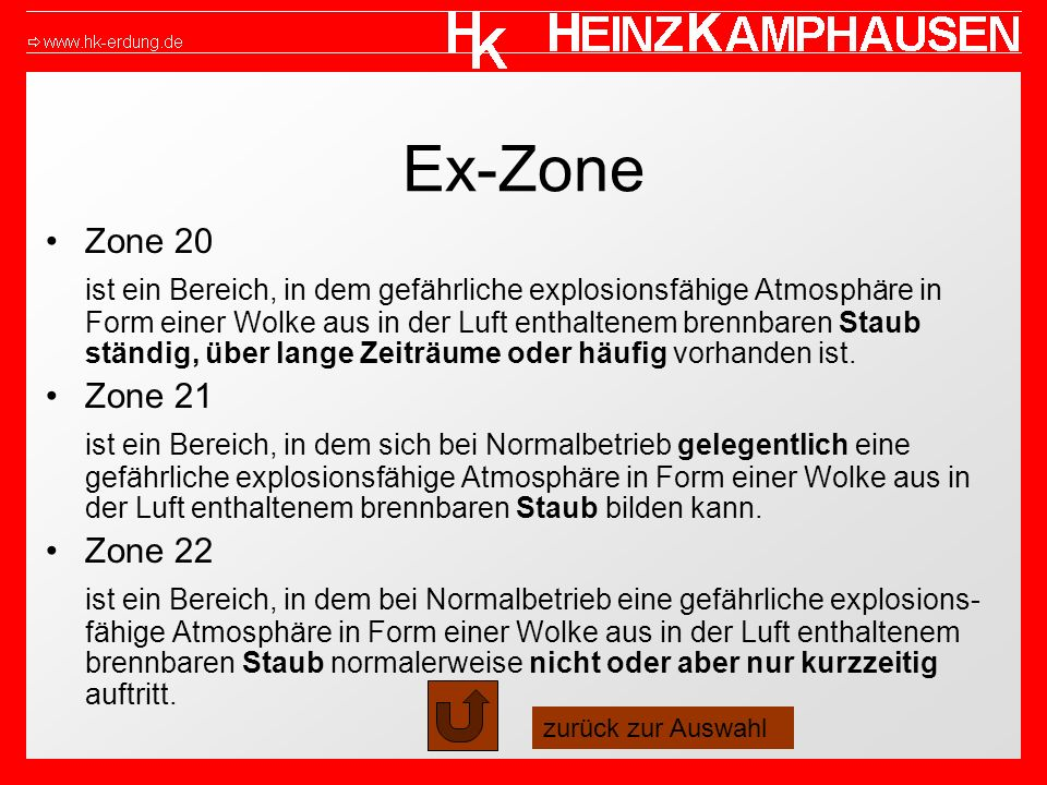 Ex-Zone Zone 20 ist ein Bereich, in dem gefährliche explosionsfähige Atmosphäre in Form einer Wolke aus in der Luft enthaltenem brennbaren Staub ständ