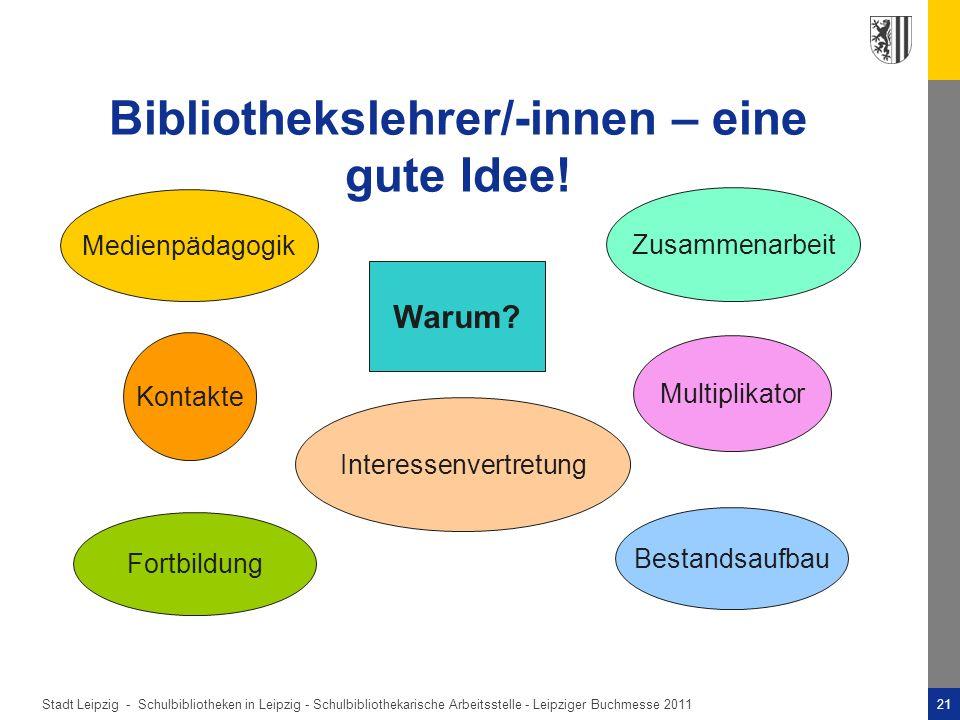 Stadt Leipzig -21Schulbibliotheken in Leipzig - Schulbibliothekarische Arbeitsstelle - Leipziger Buchmesse 2011 Bibliothekslehrer/-innen – eine gute Idee.