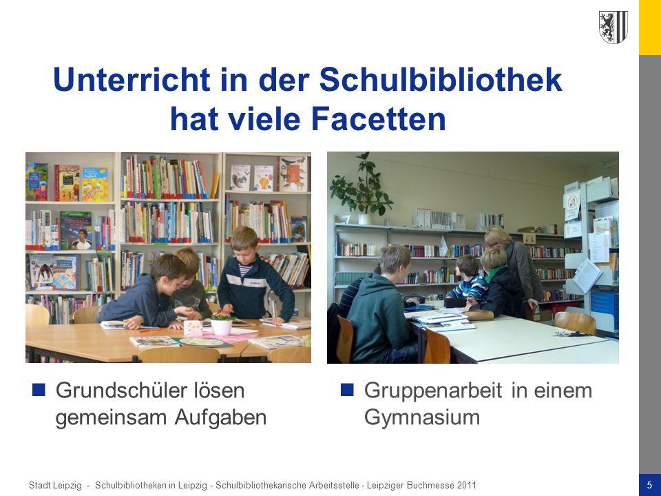 Stadt Leipzig -5Schulbibliotheken in Leipzig - Schulbibliothekarische Arbeitsstelle - Leipziger Buchmesse 2011 Unterricht in der Schulbibliothek hat viele Facetten Gruppenarbeit in einem Gymnasium Grundschüler lösen gemeinsam Aufgaben