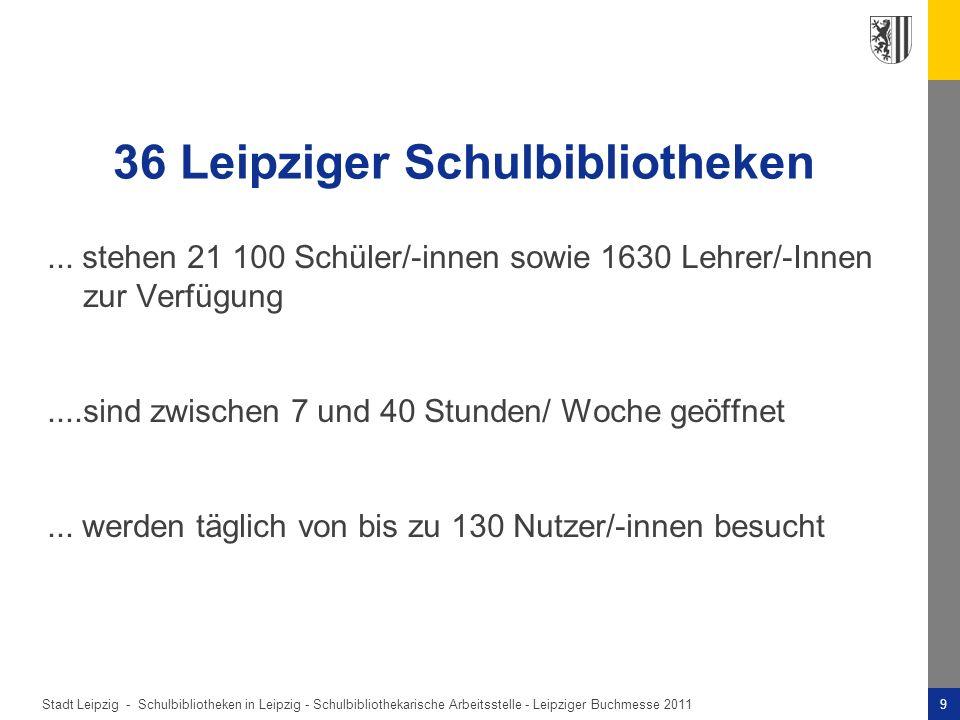 Stadt Leipzig -9Schulbibliotheken in Leipzig - Schulbibliothekarische Arbeitsstelle - Leipziger Buchmesse 2011 36 Leipziger Schulbibliotheken...