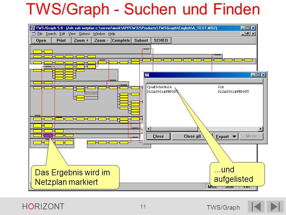 HORIZONT 11 TWS/Graph TWS/Graph - Suchen und Finden Das Ergebnis wird im Netzplan markiert...und aufgelisted