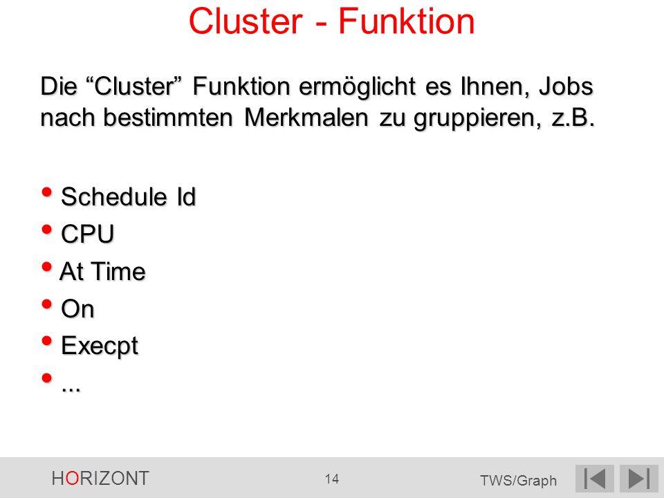 HORIZONT 14 TWS/Graph Cluster - Funktion Die Cluster Funktion ermöglicht es Ihnen, Jobs nach bestimmten Merkmalen zu gruppieren, z.B. Schedule Id Sche
