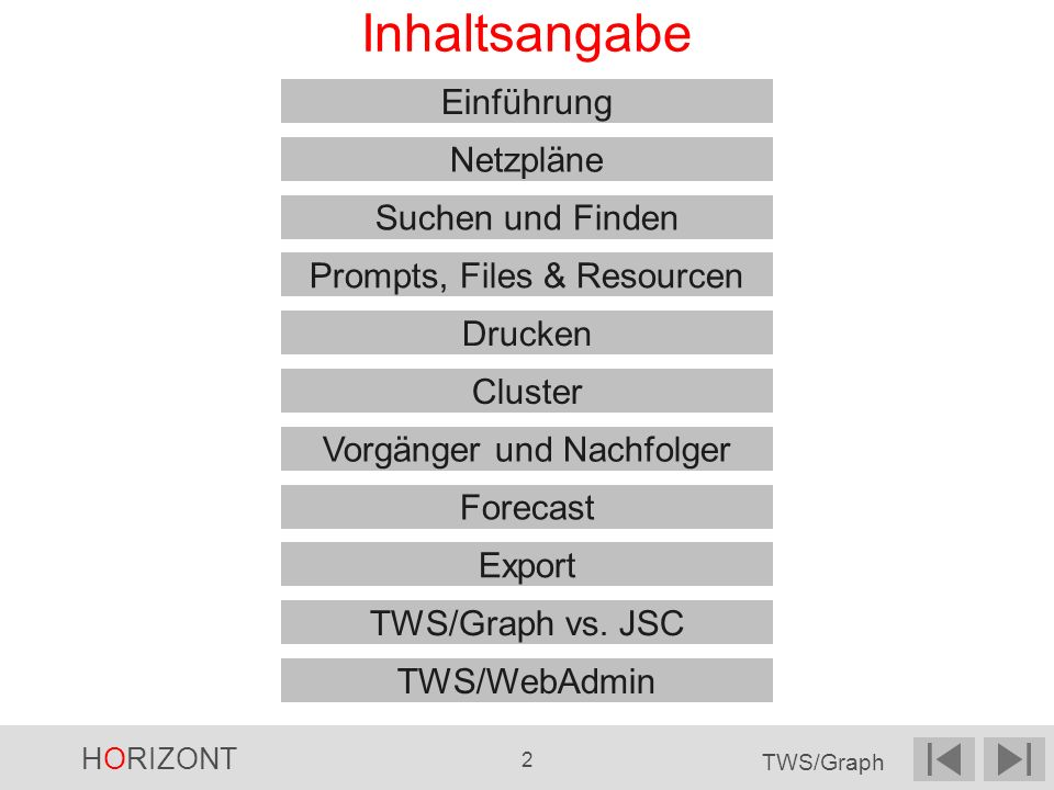 HORIZONT 2 TWS/Graph Inhaltsangabe Einführung Netzpläne Cluster Suchen und Finden Vorgänger und Nachfolger Forecast Export TWS/Graph vs. JSC Drucken P