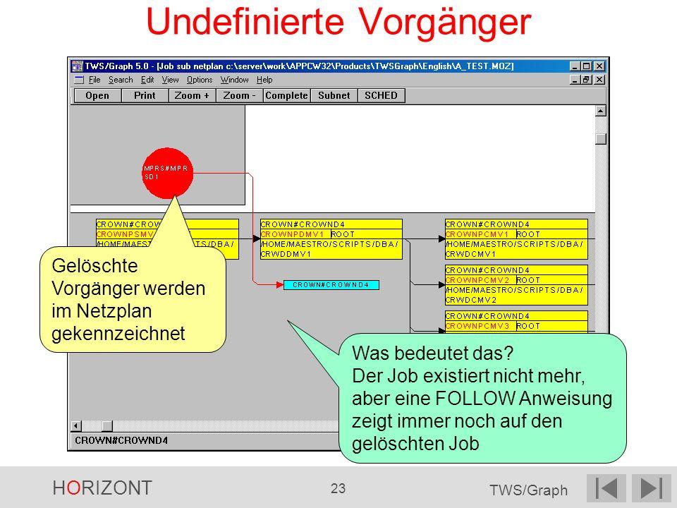 HORIZONT 23 TWS/Graph Undefinierte Vorgänger Gelöschte Vorgänger werden im Netzplan gekennzeichnet Was bedeutet das? Der Job existiert nicht mehr, abe