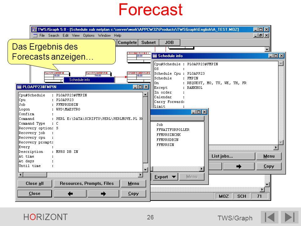 HORIZONT 26 TWS/Graph Forecast Das Ergebnis des Forecasts anzeigen…