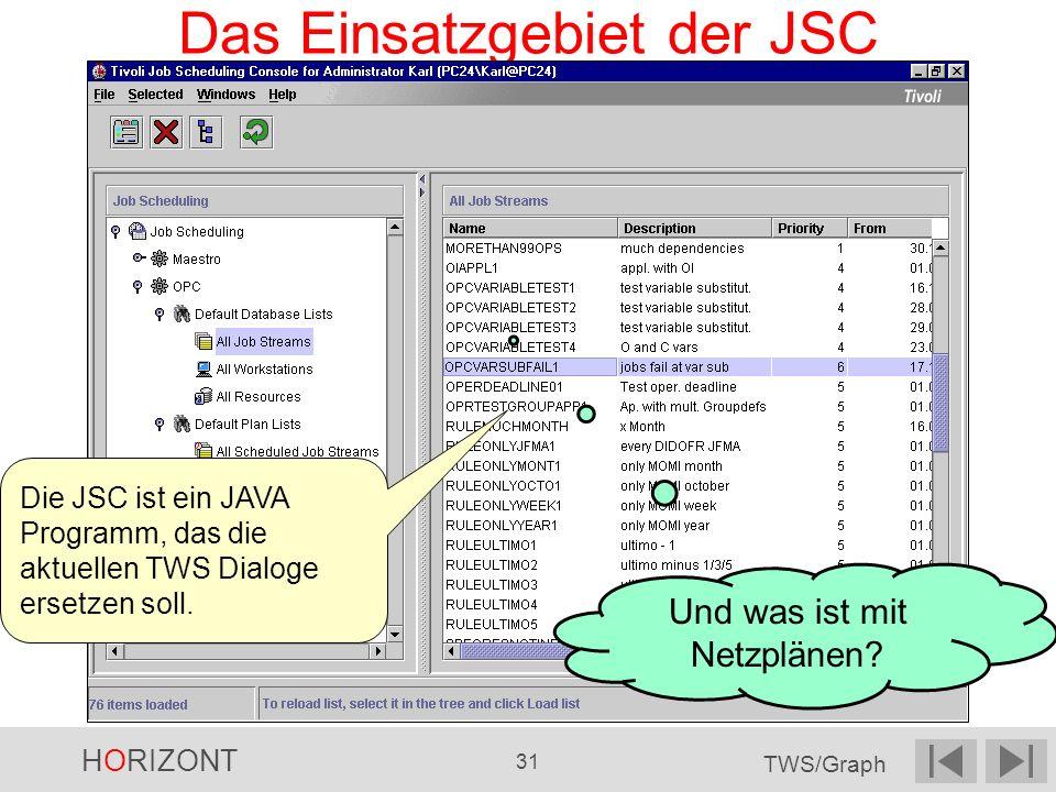 HORIZONT 31 TWS/Graph Das Einsatzgebiet der JSC Die JSC ist ein JAVA Programm, das die aktuellen TWS Dialoge ersetzen soll. Und was ist mit Netzplänen