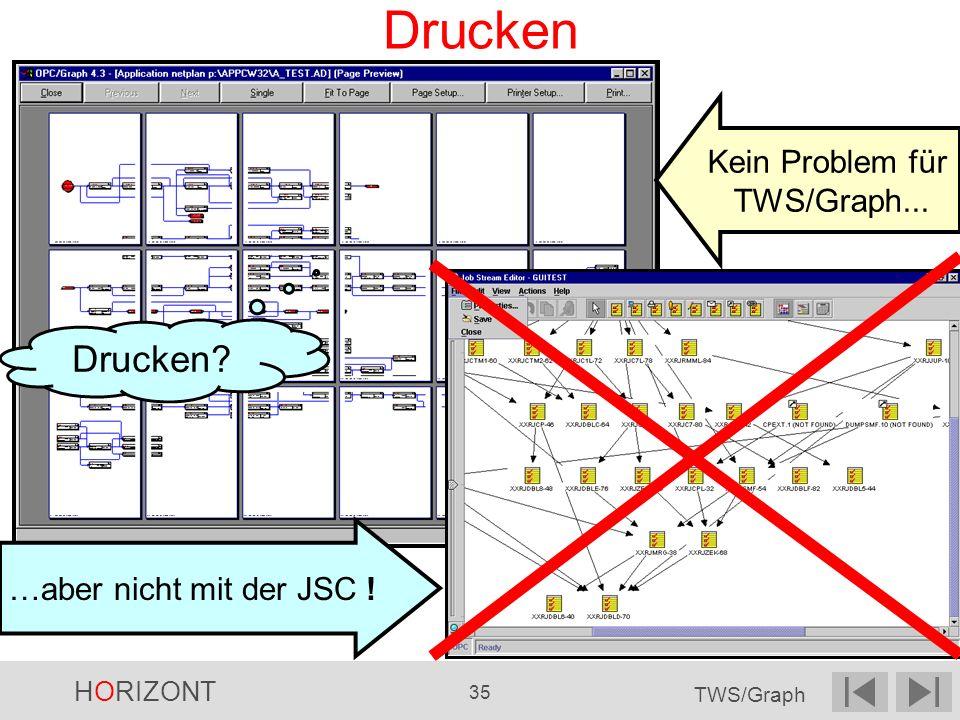 HORIZONT 35 TWS/Graph Drucken Kein Problem für TWS/Graph... …aber nicht mit der JSC ! Drucken?