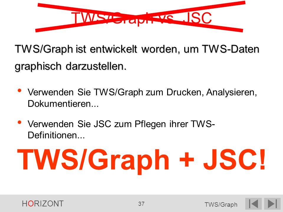 HORIZONT 37 TWS/Graph TWS/Graph vs. JSC Verwenden Sie TWS/Graph zum Drucken, Analysieren, Dokumentieren... Verwenden Sie JSC zum Pflegen ihrer TWS- De