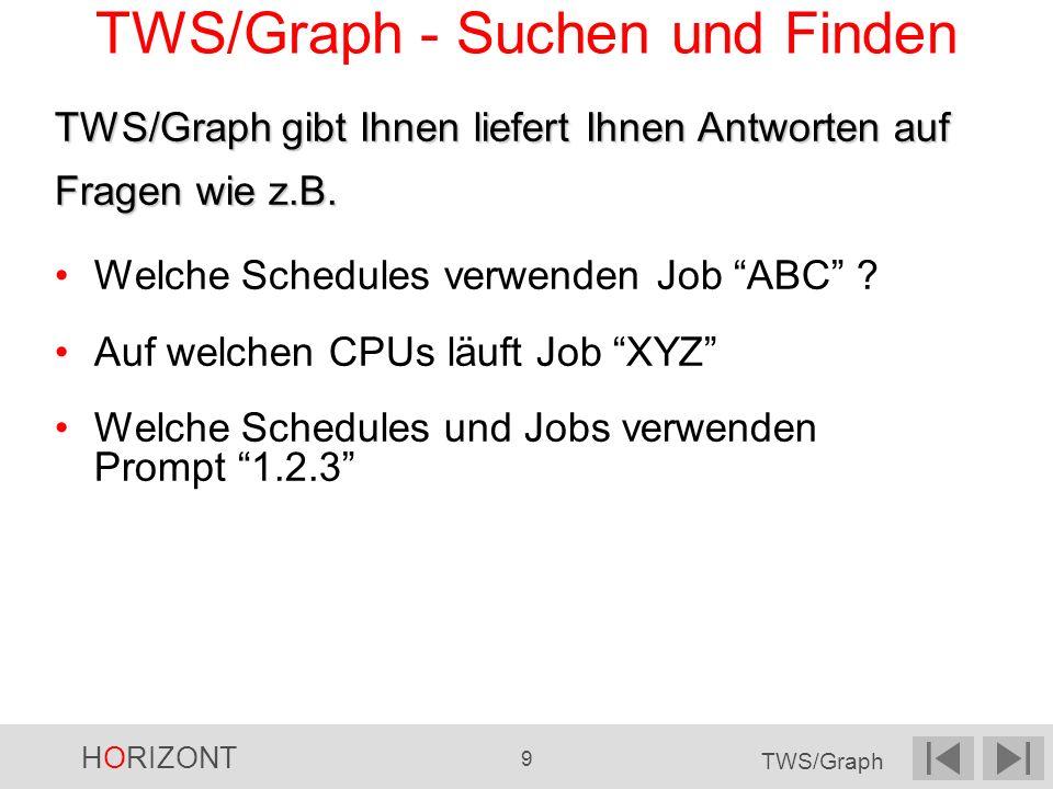 HORIZONT 9 TWS/Graph TWS/Graph gibt Ihnen liefert Ihnen Antworten auf Fragen wie z.B. Welche Schedules verwenden Job ABC ? Auf welchen CPUs läuft Job