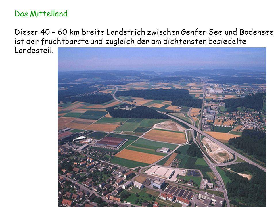 Das Mittelland Dieser 40 – 60 km breite Landstrich zwischen Genfer See und Bodensee ist der fruchtbarste und zugleich der am dichtensten besiedelte La