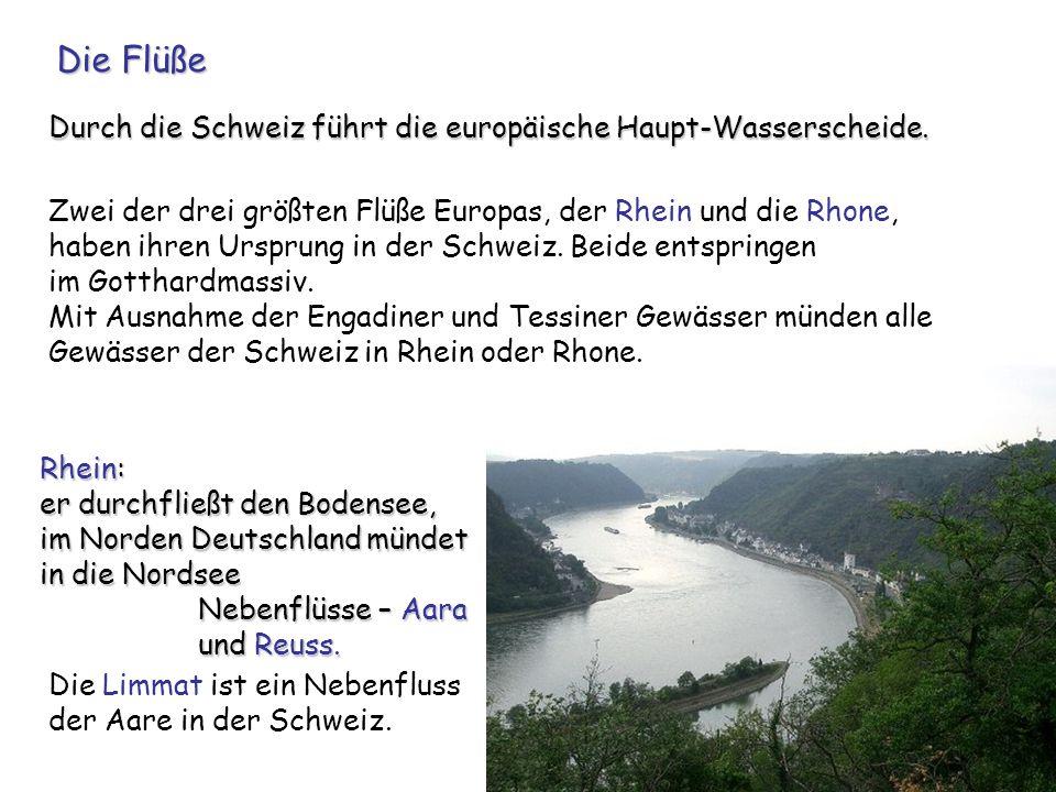 Zwei der drei größten Flüße Europas, der Rhein und die Rhone, haben ihren Ursprung in der Schweiz. Beide entspringen im Gotthardmassiv. Mit Ausnahme d