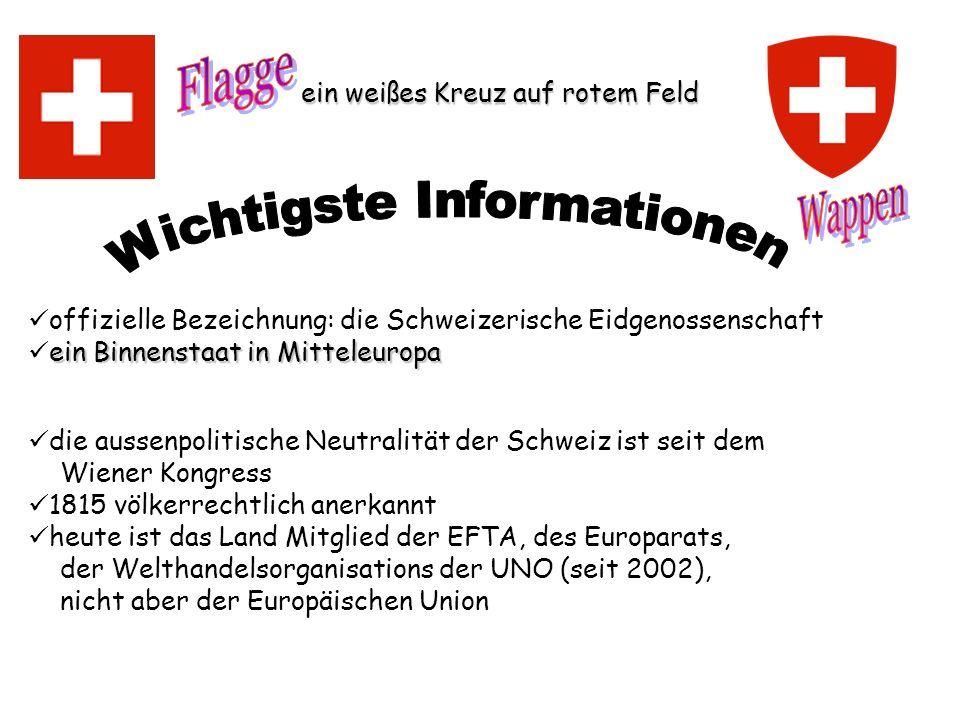 offizielle Bezeichnung: die Schweizerische Eidgenossenschaft ein Binnenstaat in Mitteleuropa die aussenpolitische Neutralität der Schweiz ist seit dem
