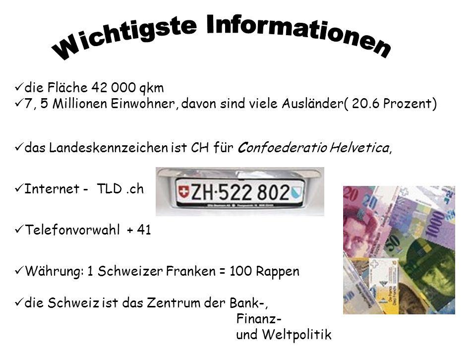 Internet - TLD.ch Telefonvorwahl + 41 Währung: 1 Schweizer Franken = 100 Rappen die Schweiz ist das Zentrum der Bank-, Finanz- und Weltpolitik die Flä