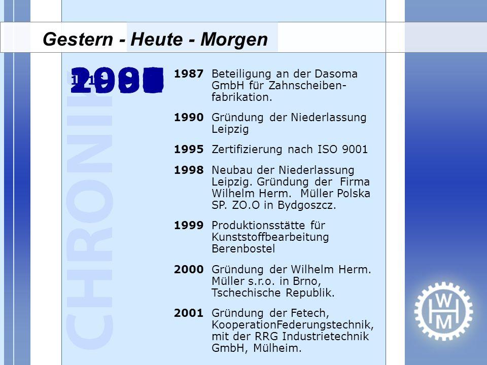 19871990 19951998 19992000 2001 1987Beteiligung an der Dasoma GmbH für Zahnscheiben- fabrikation. 1990Gründung der Niederlassung Leipzig 1995Zertifizi