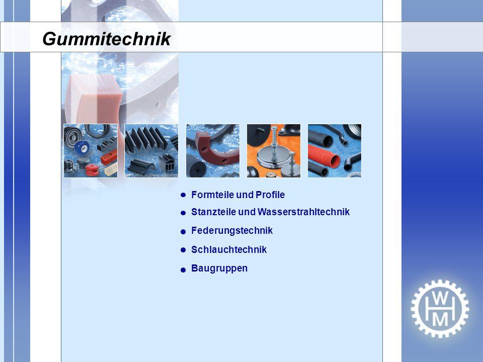Formteile und Profile Stanzteile und Wasserstrahltechnik Federungstechnik Schlauchtechnik Baugruppen Gummitechnik