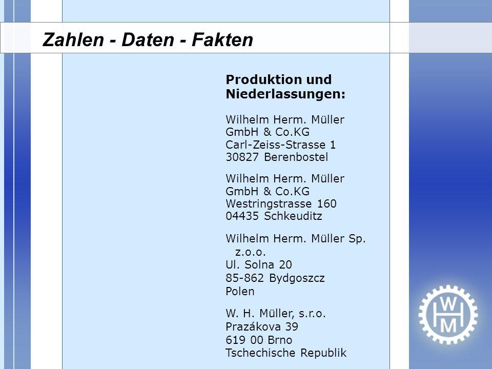 Produktion und Niederlassungen: Wilhelm Herm. Müller GmbH & Co.KG Carl-Zeiss-Strasse 1 30827 Berenbostel Wilhelm Herm. Müller GmbH & Co.KG Westringstr
