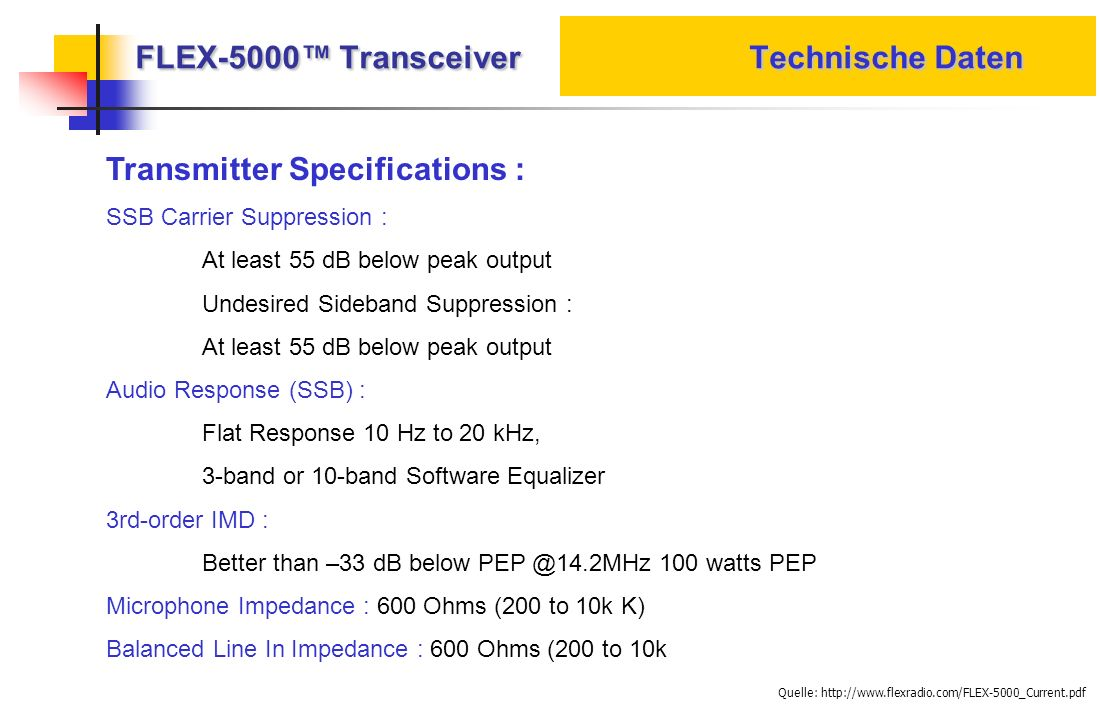 FLEX-5000 Transceiver Technische Daten Transmitter Specifications : SSB Carrier Suppression : At least 55 dB below peak output Undesired Sideband Supp