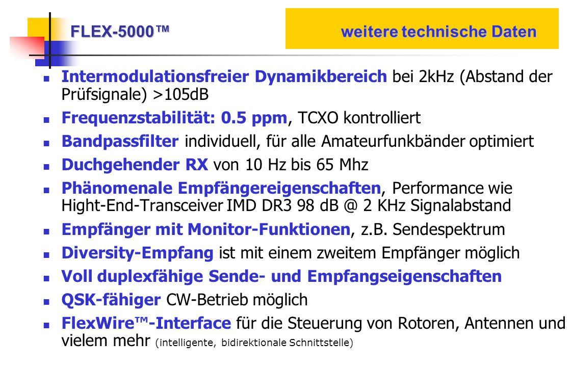 FLEX-5000 weitere technische Daten Intermodulationsfreier Dynamikbereich bei 2kHz (Abstand der Prüfsignale) >105dB Frequenzstabilität: 0.5 ppm, TCXO k