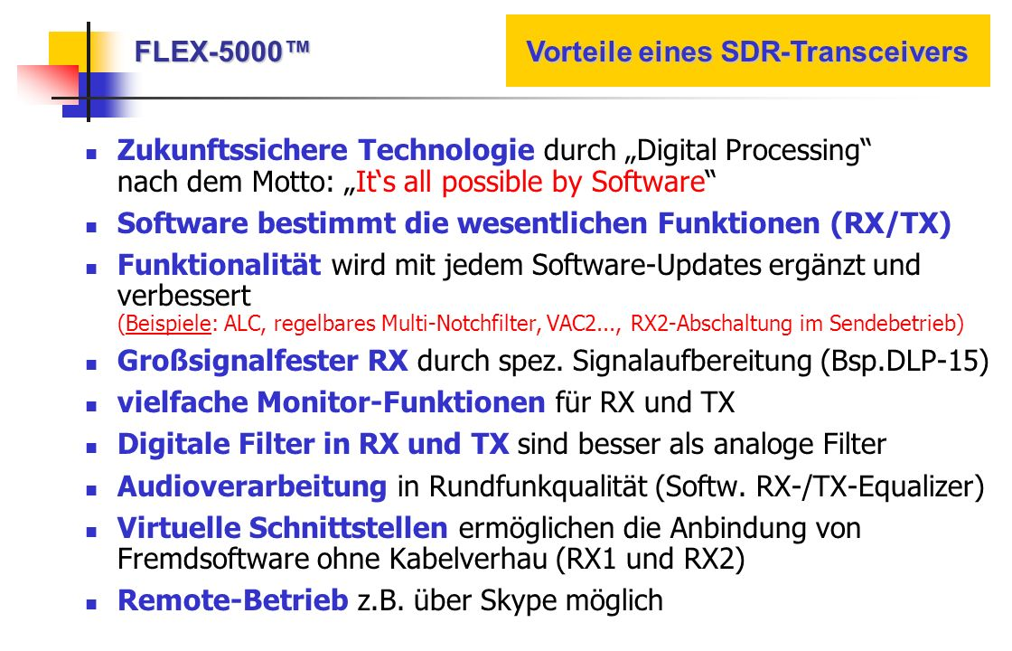 Zukunftssichere Technologie durch Digital Processing nach dem Motto: Its all possible by Software Software bestimmt die wesentlichen Funktionen (RX/TX