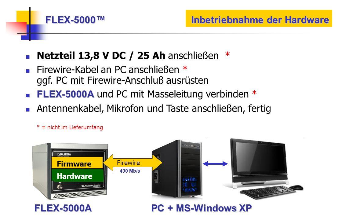 FLEX-5000 Inbetriebnahme der Hardware Firewire FirmwareHardware FLEX-5000A PC + MS-Windows XP 400 Mb/s Netzteil 13,8 V DC / 25 Ah anschließen * Firewi
