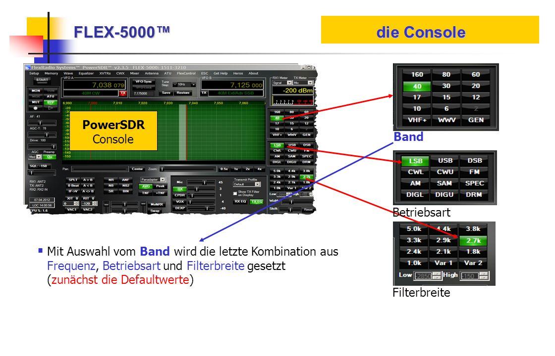 FLEX-5000 die Console PowerSDR Console Band Betriebsart Filterbreite Mit Auswahl vom Band wird die letzte Kombination aus Frequenz, Betriebsart und Fi