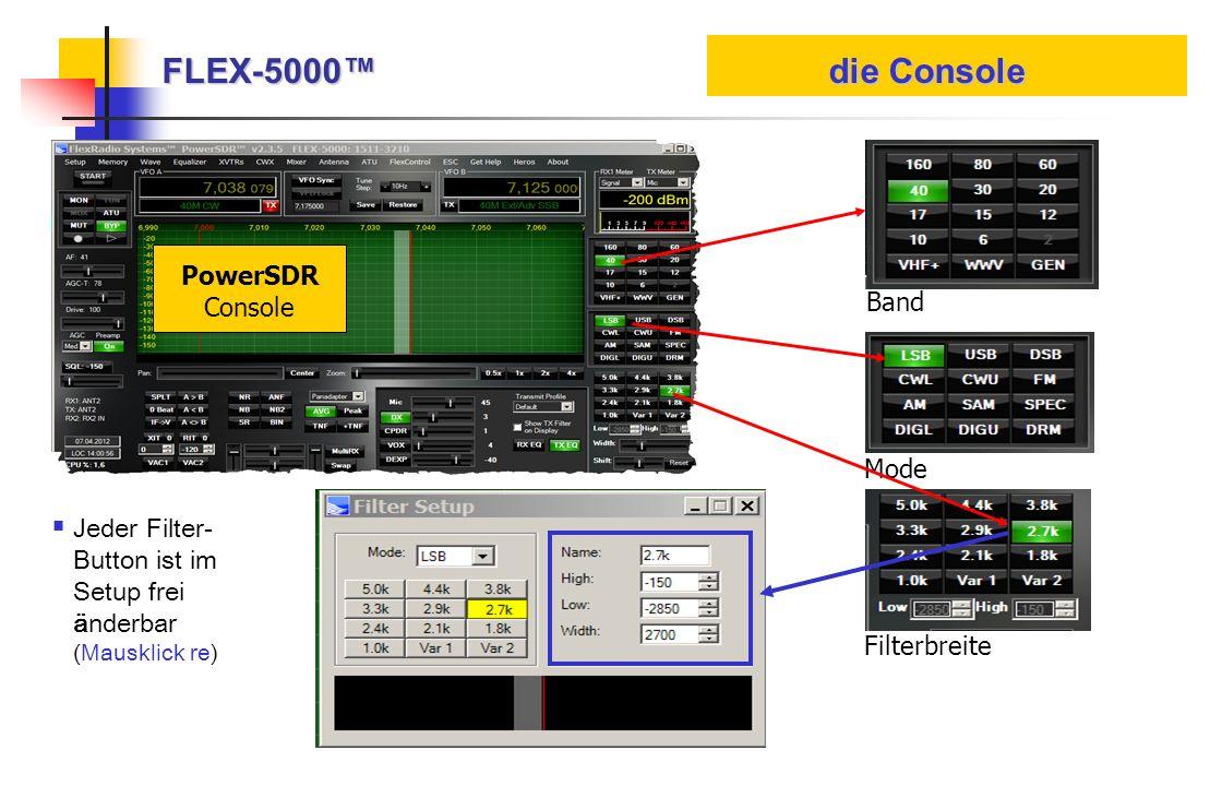FLEX-5000 die Console PowerSDR Console Band Mode Filterbreite Jeder Filter- Button ist im Setup frei änderbar (Mausklick re)