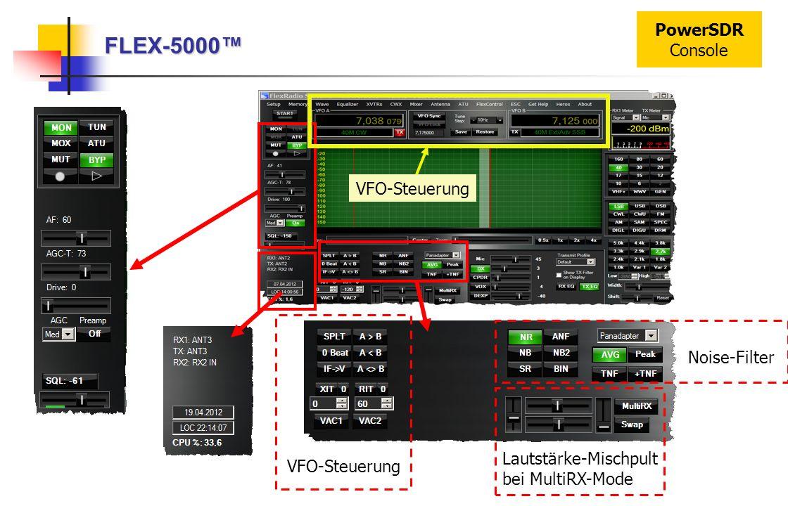 FLEX-5000 PowerSDR Console VFO-Steuerung Lautstärke-Mischpult bei MultiRX-Mode Noise-Filter VFO-Steuerung