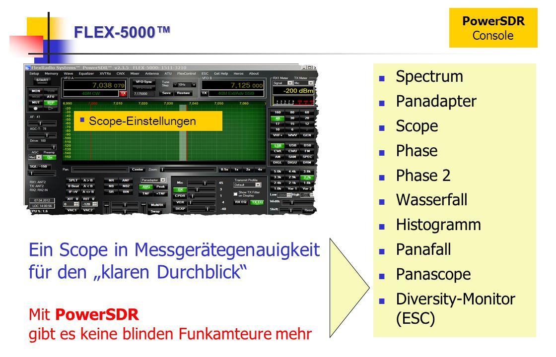 FLEX-5000 PowerSDR Console Scope-Einstellungen Ein Scope in Messgerätegenauigkeit für den klaren Durchblick Mit PowerSDR gibt es keine blinden Funkamt