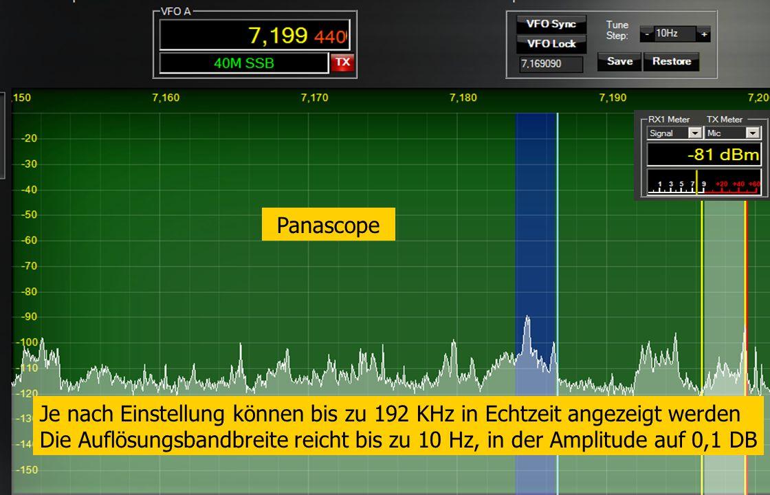 FLEX-5000 PowerSDR Console Sope-Einstellungen Panascope Je nach Einstellung können bis zu 192 KHz in Echtzeit angezeigt werden Die Auflösungsbandbreit