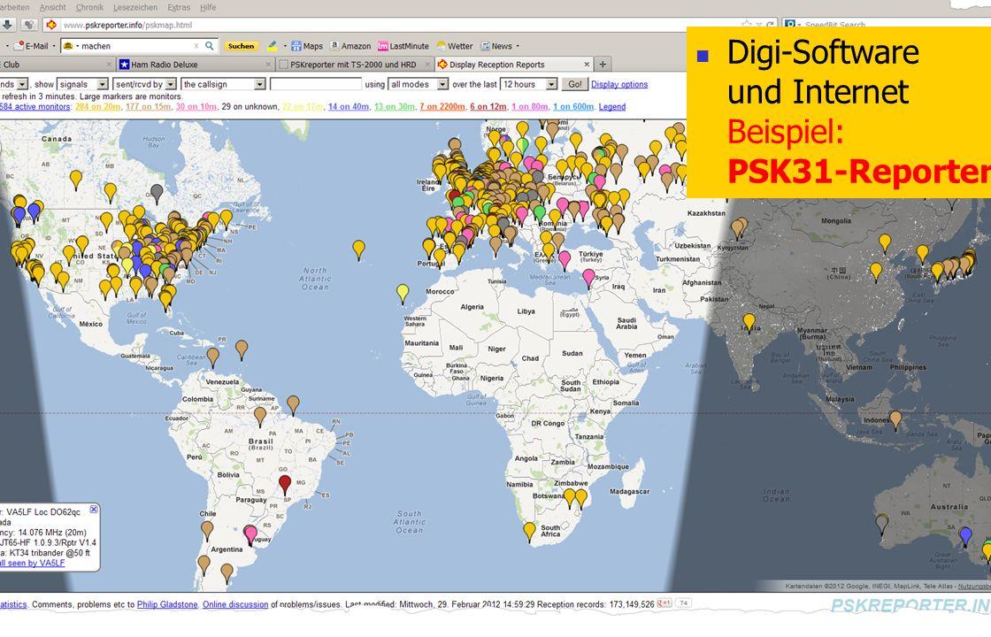 Digi-Software und Internet Beispiel: PSK31-Reporter
