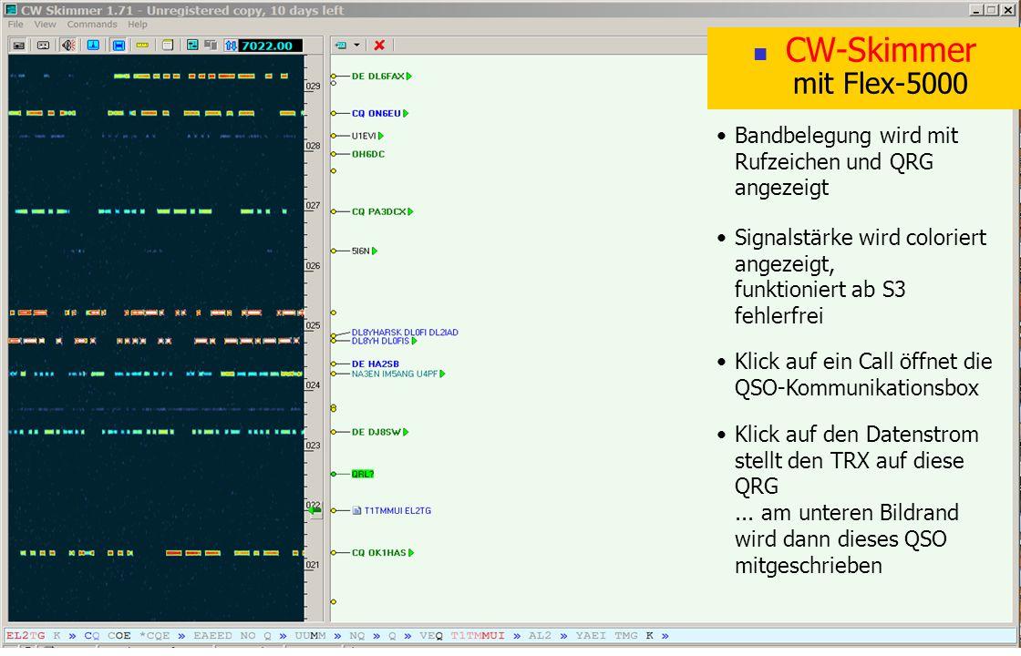 CW-Skimmer mit Flex-5000 Bandbelegung wird mit Rufzeichen und QRG angezeigt Signalstärke wird coloriert angezeigt, funktioniert ab S3 fehlerfrei Klick