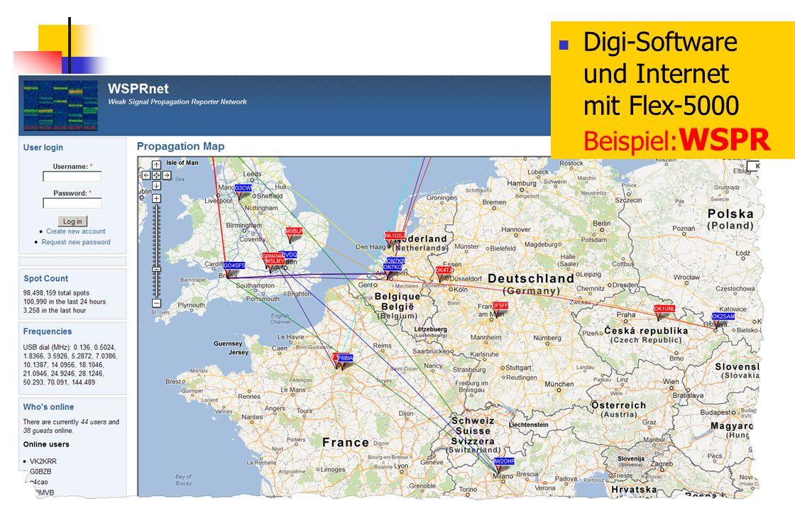 CW-Skimmer Digi-Software und Internet mit Flex-5000 Beispiel: WSPR
