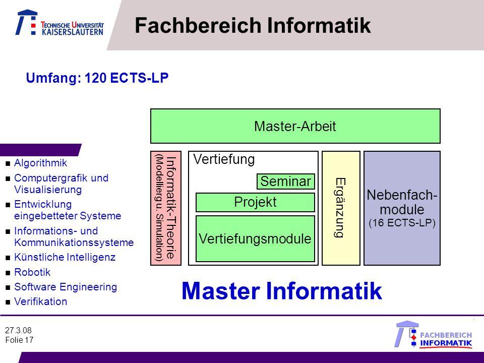 27.3.08 Folie 17 Master-Arbeit Seminar Projekt Nebenfach- module (16 ECTS-LP) Informatik-Theorie (Modellierg u. Simulation) Vertiefungsmodule Vertiefu