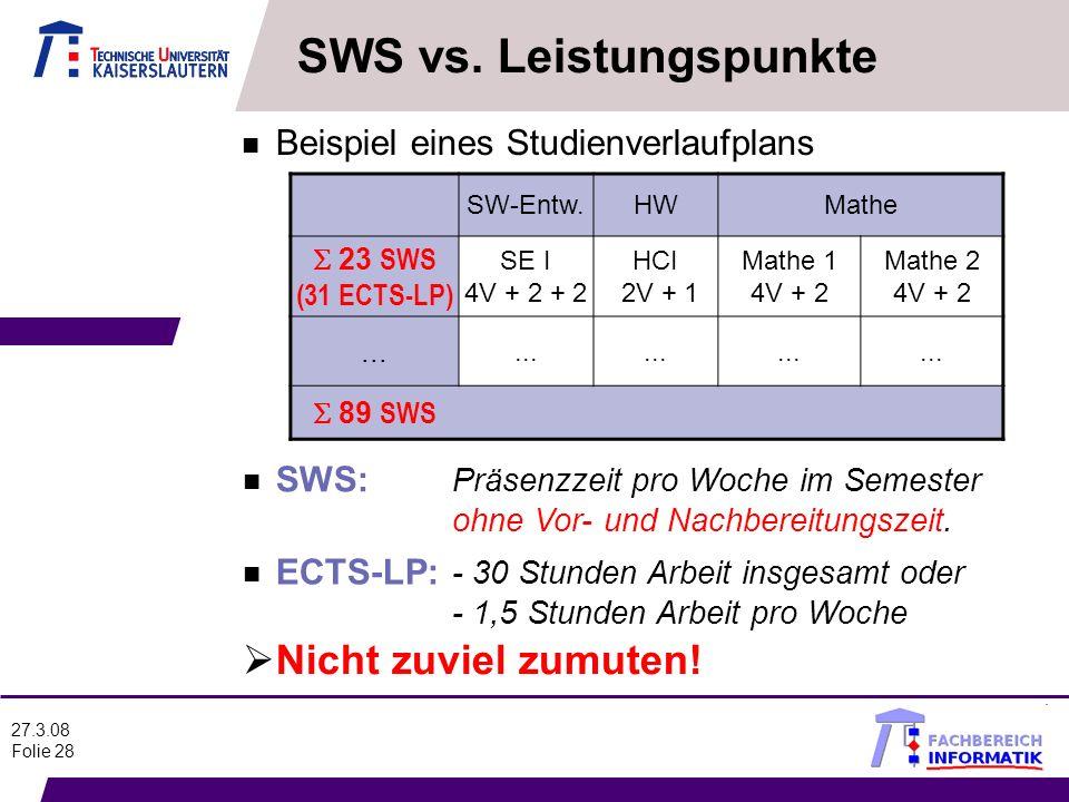 27.3.08 Folie 28 n Beispiel eines Studienverlaufplans SW-Entw.HWMathe 23 SWS (31 ECTS-LP) SE I 4V + 2 + 2 HCI 2V + 1 Mathe 1 4V + 2 Mathe 2 4V + 2...