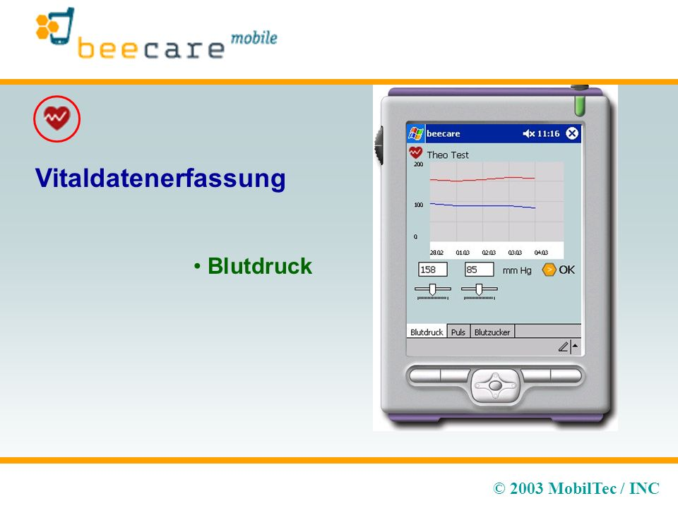 © 2003 MobilTec / INC Vitaldatenerfassung Blutdruck